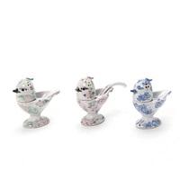 three eartenware spice sets modelled in the shape of birds by bjørn wiinblad