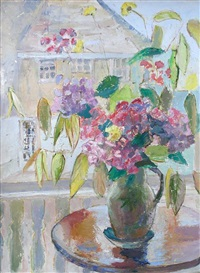 jug of flowers by a window by lucette de la fougere