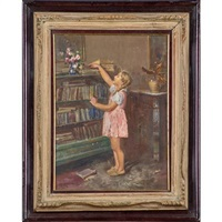 Two untitled works (girl in pink and woman...