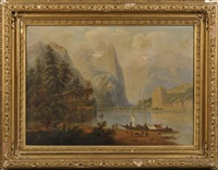 mountain lake with cabin and sailing vessels by h. baumgartner