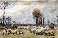 shepherd and flock in a meadow by frederick william jackson