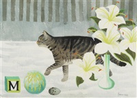cat with lilies by mary fedden
