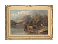 highland cattle watering at a loch by william langley