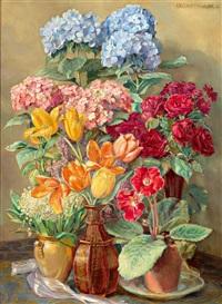 prächtige bunte blumensträuße in vasen by lea reinhart