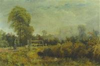herbstlandschaft mit einer schäferin und ihrer herde auf dem steg links und einem angler am wasser vorn by henry j. cottrell