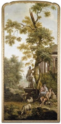 an arcadian landscape with a shepherd and his family resting near their flock by jurriaan andriessen