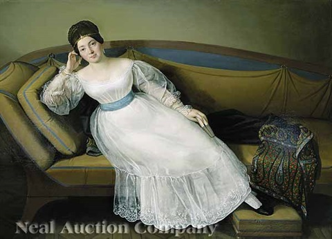 a portrait of a noblewoman on an empire sofa by carl josef alois agricola