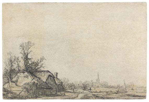 hütten am kanal ansicht von diemen bei amsterdam by rembrandt van rijn
