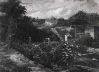 landschaft mit steingebäuden by louis (jakob ludwig w.) boller