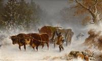 holzabfuhr im winterwald by carl heinrich hoffmann