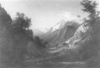 alpenlandschaft mit staffage by karl friedrich toeche