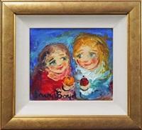 two children, plum & orange by david boyd