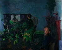 interior - blue and green by maurice de sausmarez
