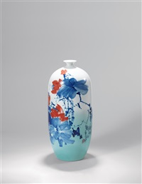 青花釉里红「风露秋妍」瓶 (under glazed-blue and copper-red autumn vase) by yu donghua