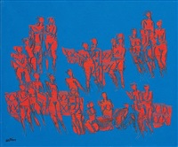 untitled (figures in blue and red) by walter whall battiss