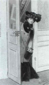 elegante dame betritt ein zimmer by rudolf vacha
