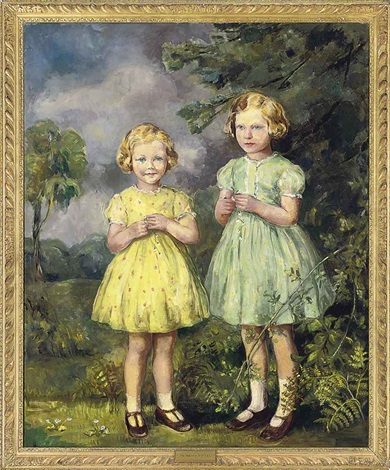 portrait of two sisters in a landscape by maud steel