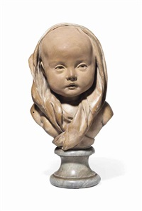 bust of an infant, probably auguste-romain de bourge by jean-antoine houdon