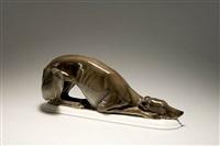 liegender greyhound by lorenz hutschenreuther