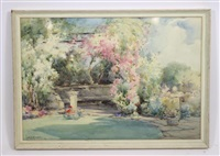 garden scene with rose arch and sundial by owen bowen