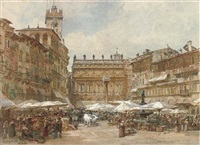 market day at the piazza erbe, verona by samuel john hodson