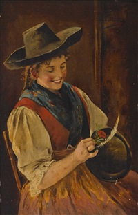 bauerndirndl, eine nelke an einen hut steckend by emma (edle von seehof) müller