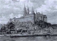 albrechtsbourg castle on the river elbe by h.a. lehmann
