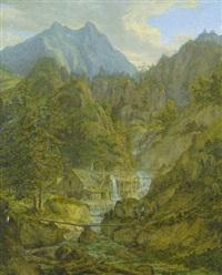 alte mühle am gebirgsbach vor dem watzmannmassiv by ferdinand wilhem von couven