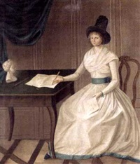portrait of a young lady wearing a white musling dress, seated in an interior at a writing desk by heinrich freudweiler
