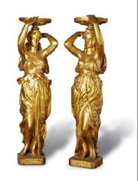 figuras clasicas sosteniendo copas (pair) by alfred desiré lanson