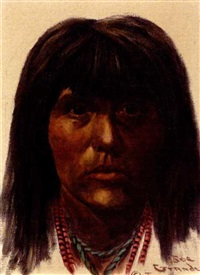 portrait of a young native american by joe ruiz grandee