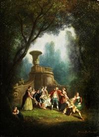 elegante gesellschaft im rokoko-park beim blinde-kuh-spiel by alexandre paul joseph veron