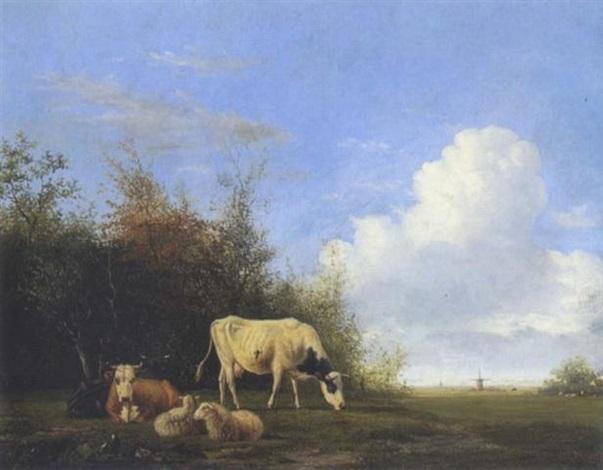kühe und schafe auf der weide by johannes jacobus jan heppener