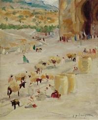marché à l'entrée de la casbah by jean emile laurent