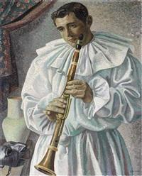 pulcinella (pierrot) con flauto (il pulcinella malinconico) by gino severini