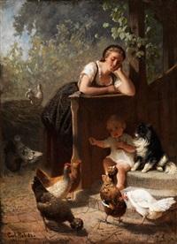 genreszene mit kleinem kind beim hühnerfüttern by carl rohde