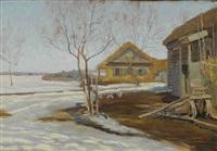 ländliches idyll im vorfrühling by vasili (vladimir) vasilievich perepletchikov