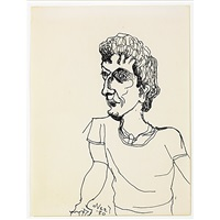 untitled (portrait of a woman) (+ untitled (portrait of a man), smllr; 2 works) by alice neel
