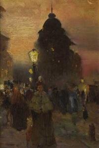 münchen - abendliche straßenszene vor dem imperialhaus am stachus by charles vetter