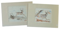 two proud bucks (2 works) by percy tsiste sandy
