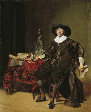 portrait of a silversmith (christian van vianen?) in brown costume and a black hat holding a drawing and a salt cellar, at a carpeted table by thomas de keyser