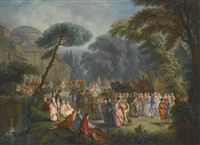 an elegant party in a park by alexandre paul joseph veron