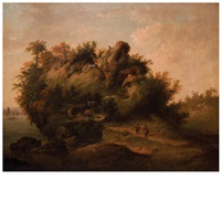 an anthropomorphic landscape forming the profile of a man's head by johann (jan) christian vollerdt