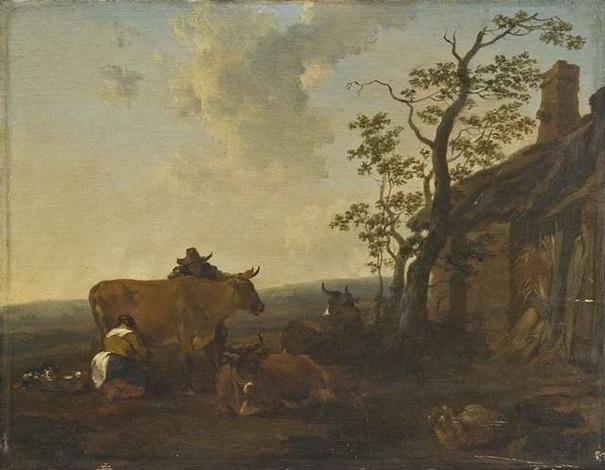 bauernpaar mit kühen vor dem stall by nicolaes berchem