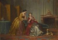 zwei damen im salon by henricus engelbertus reijntjens