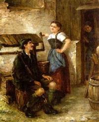 jäger und magd im gespräch am brunnen, von einer alten frau belauscht by arthur hutschenreuter