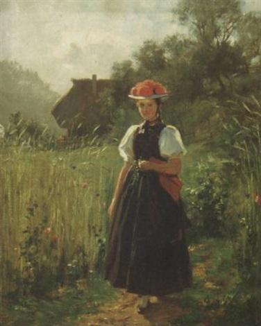 junge gutacherin auf einem feldweg bei einem bauernhof by wilhelm g hasemann