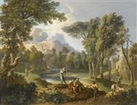 landschaft in latium mit fünf figuren im vordergrund by andrea locatelli