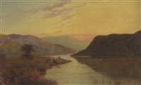 cattle at the edge of a sunlit loch by daniel bates