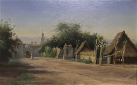 view of a church and village street mexico by townley benson